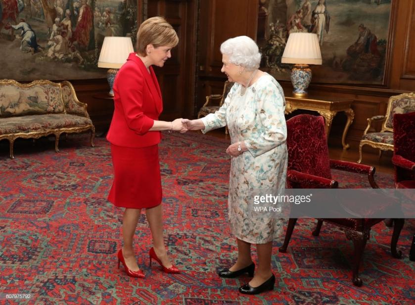 Queen Elizabeth II And Nicola Sturgeon Meet At Holyroodhouse