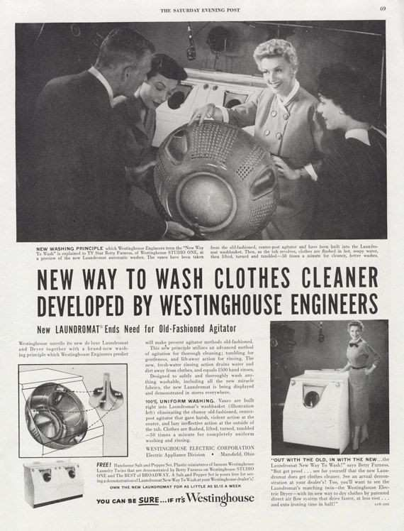 when was the washing machine invented Lovely 1950s Westinghouse Washer Ad Black & White Appliance Vintage
